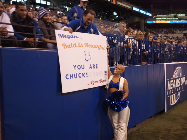 """Twitter Image """"Newly bald Colts cheerleader Megan with her father #chuckstrong"""" - @Fox59Larry"""